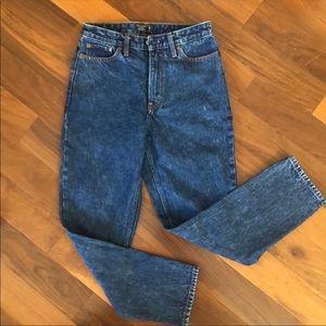 High rise dark girlfriend jeans